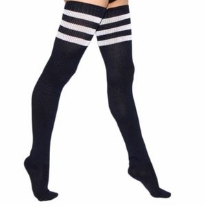 Striped thigh high socks free canvas included